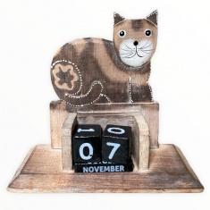 Календарь настольный h=15 см. Кот   (дерево)