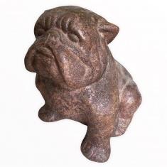 Собака Бульдог h=35 см. (бел., коричн., зелен.) (терракота)
